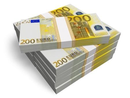 billets euro: Les piles de 200 billets en euros isolé sur fond blanc