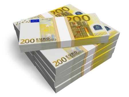Stacks of 200 Euro banknotes isolated on white background photo