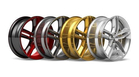 tire service: Set of different wheel disks isolated on white background Stock Photo