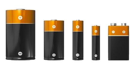 bateria: Conjunto de diferentes tamaños de las baterías (de izquierda a derecha): D, C, AA, AAA y PP3 (9V) aisladas sobre fondo blanco