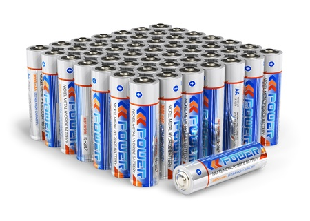 Set of AA size batteries isolated on white background photo