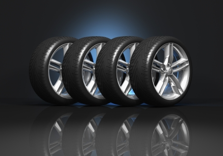 huellas de neumaticos: Conjunto de cuatro ruedas de coches de lujo en fondo negro reflectante Foto de archivo