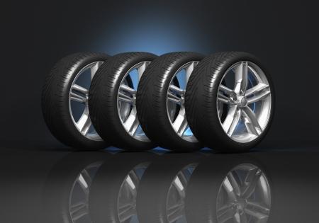 Set van vier luxe auto wielen op een zwarte reflecterende achtergrond