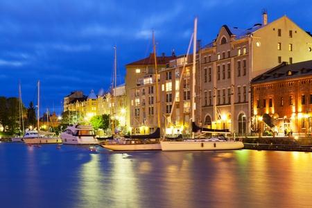 helsinki: Scenic night view of the Old Port in Katajanokka district of the Old Town in Helsinki, Finland Stock Photo
