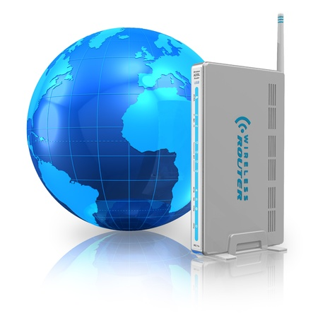 dsl: Wireless communication and internet concept: wireless router and blue Earth globe isolated on white reflective background