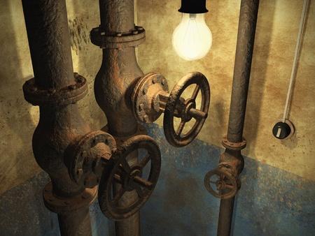 caños de agua: Grunge viejo y abandonado interior con tuberías oxidadas y la pared sucia se desvaneció Foto de archivo
