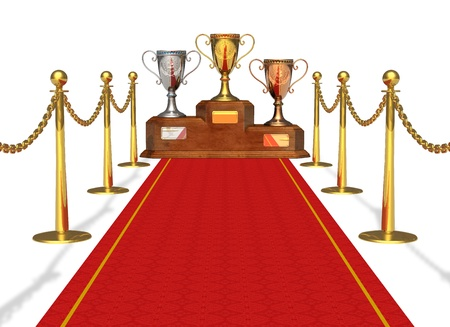 pedestal: Success and achievement concept: trophy cups on pedestal and red carpet isolated on white background