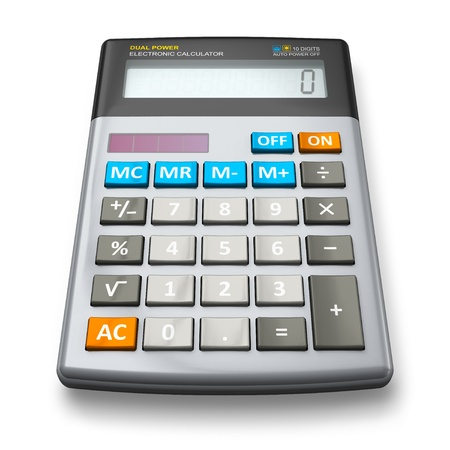 reckon: Desktop office calculator isolated on white background Stock Photo