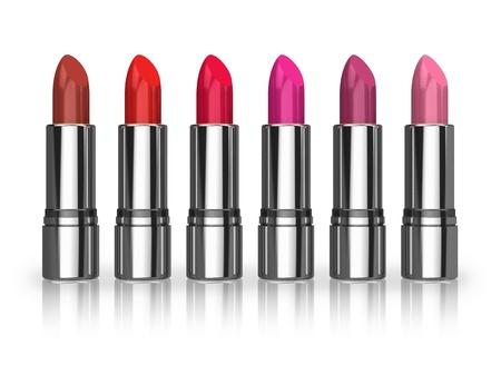 gamma tone: Set of red lipsticks isolated on white reflective background