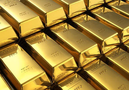 ingots: Macro view of stacks of gold bars Stock Photo
