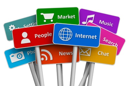 Internet and social media concept: set of color signs with icons of internet and social media services isolated on white background Stock Photo - 12033123