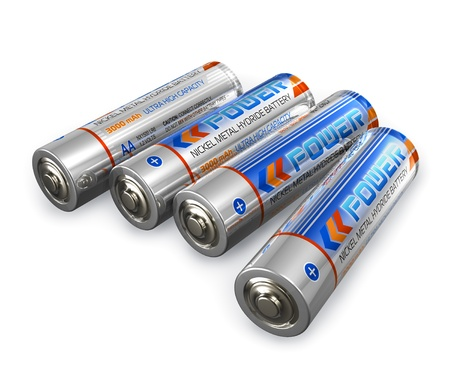nickel: Set of four AA size batteries isolated on white background Stock Photo