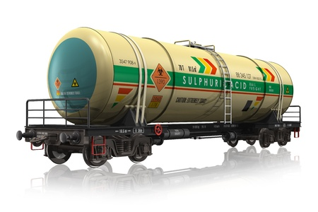 goods train: Chemical railroad tank car isolated on white reflective background  Stock Photo