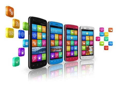 web application: Le comunicazioni mobili e il concetto di social networking: fila di smartphone touchscreen con icone delle applicazioni nuvola di isolato su sfondo bianco riflettente Archivio Fotografico