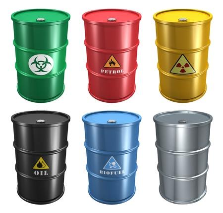industria quimica: Conjunto de barriles metálicos diferentes industriales aisladas sobre fondo blanco Foto de archivo