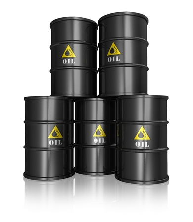 oil pollution: Group of black metal oil barrels isolated on white reflective background