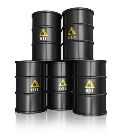 bateria musical: Grupo de los negros de barriles de petróleo de metal sobre fondo blanco reflectante