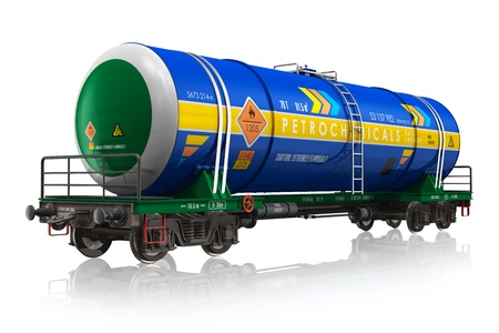 Gasoline railroad tank car isolated on white reflective background  photo