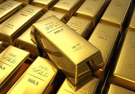ingots: Macro view of rows of gold bars