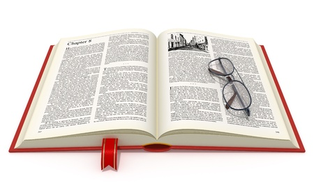 Opened book with eyeglasses isolated on white background. photo