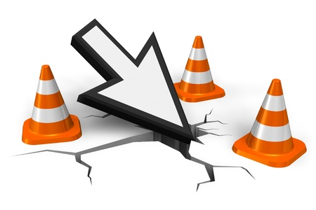 white pointer: Computer error concept: mouse pointer in crack with orange traffic cones isolated on white background