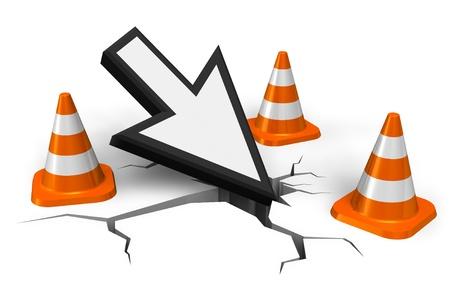 Het concept van de computerfout: muiswijzer in barst met oranje die verkeerskegels op witte achtergrond worden geïsoleerd