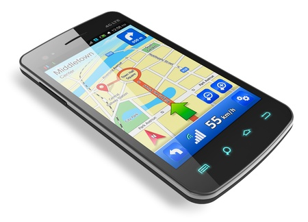 gps navigation: Tel�fono inteligente con pantalla t�ctil de navegaci�n GPS aislado sobre fondo blanco reflectante