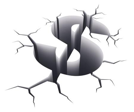 crisis economica: Concepto de crisis financiera: signo de dólar agujero de la forma de grietas aisladas sobre fondo blanco