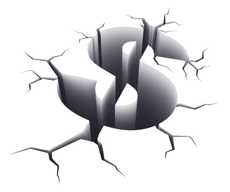 budget crisis: Financial crisis concept: dollar sign shape hole with cracks isolated on white background