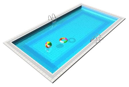 pool bola: Piscina azul con pelota de playa y el salvavidas aisladas sobre fondo blanco Foto de archivo