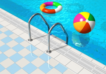 Blue swimming pool with beach ball and lifesaver photo