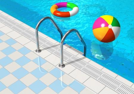 pool bola: Piscina azul con pelota de playa y el salvavidas