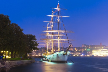 Historical ship AF Chapman (built in 1888) at the Skeppsholmen island in the Old Town in Stockholm, Sweden photo