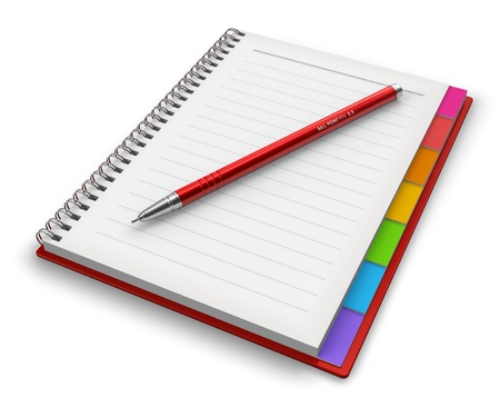 Office notepad with ballpoint pen isolated on white background photo