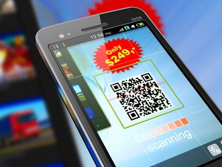 qrcode: Macro view of smartphone scanning QR code for shopping.