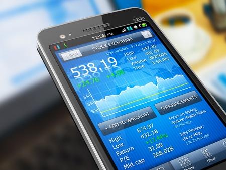 bolsa de valores: Macro vista de la aplicaci�n del mercado de valores en el tel�fono inteligente con pantalla t�ctil Foto de archivo
