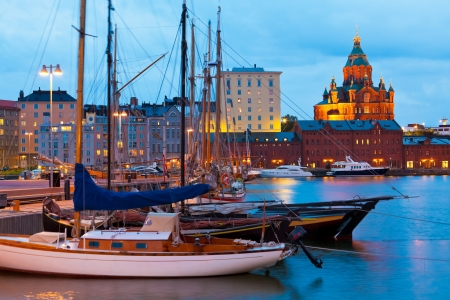Colorful evening scenery of the Old Port in Katajanokka district of Helsinki, Finland