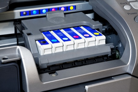 Ink cartridges in printer photo