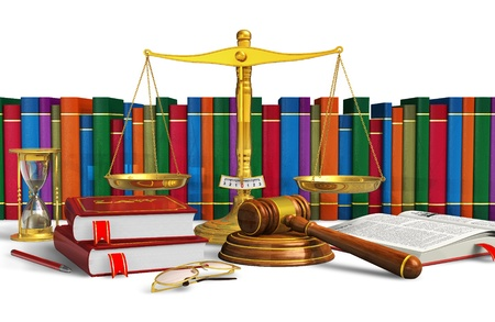 Legal or bidding concept: balance, wooden mallet, hourglasses, books and other objects isolated on white background