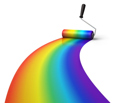 printer drawing: Creativity concept: rainbow coloring with roller brush isolated on white background