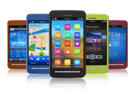 Set of touchscreen smartphones  photo