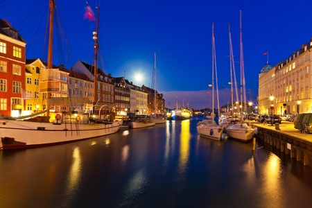 Wonderful night scenery of Nyhavn in Copenhagen, Denmark Stock fotó