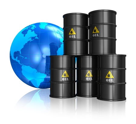 Oil trading concept: stacked black metal oil barrels and blue Earth globe isolated on white reflective background photo