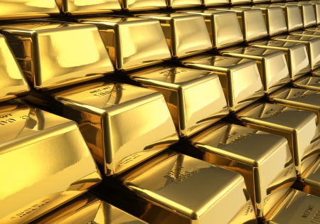 Macro view of rows of gold bars photo