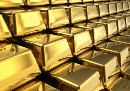 lingotto: Vista macro di righe di lingotti d'oro