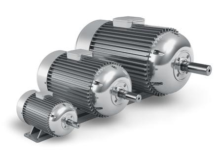 Jeu de grands industriels différents moteurs électriques isolés sur fond blanc Banque d'images