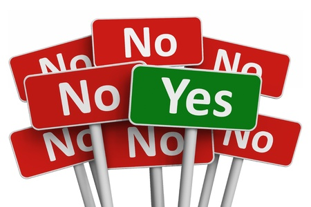 Voting concept: Yes sign among group of No signs isolated on white background Stock Photo
