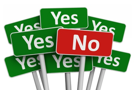 Voting concept: No sign among group of Yes signs isolated on white background photo