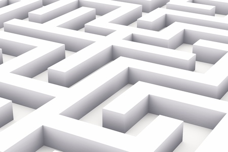solved maze puzzle: Conceptual endless white labyrinth background Stock Photo