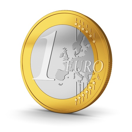3d button: One Euro coin isolated on white background